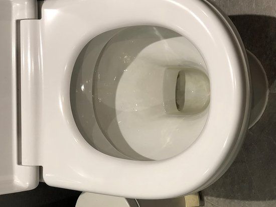 Stained and dirty toilet.