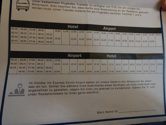 Holiday Inn Express Zurich Airport: Train Schedule