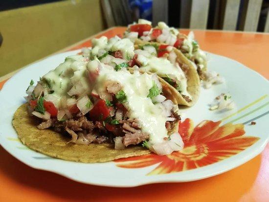 orden de tacos de soadero (carne de res) acopañados con pico de gallo y guacamole