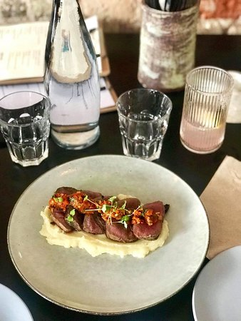 Grilled venison on casava puree and chilli chutney, from our grill to you