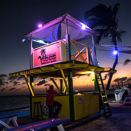 Night Lights at Vibes.  Come join us for dinner on the deck or a cold one from our Topless Bar