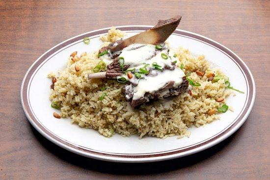 Ali Baba Restaurant: the Mansaf, authentic Jordanian dish, bone-in lamb in yougert sauce.