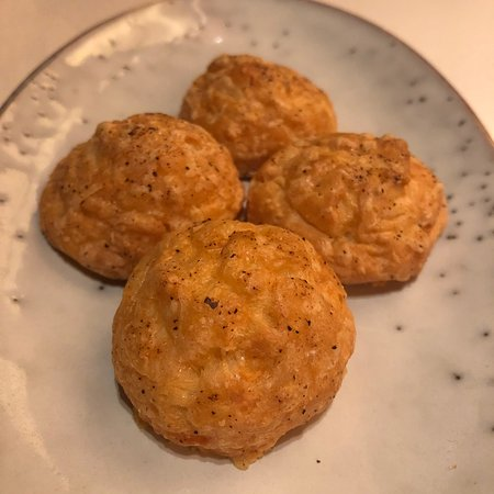 Cheese bread puffs at Voyages by Alain Ducasse