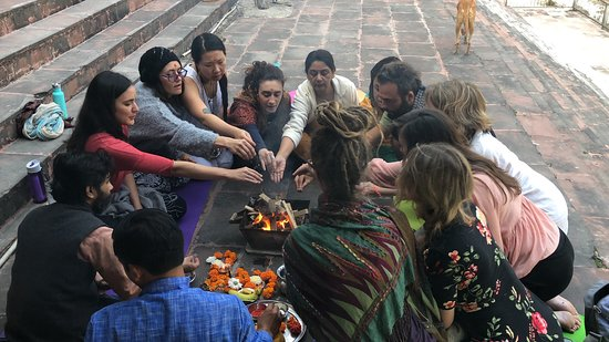 Our opening fire ceremony facilitated by a Vedic Priest!