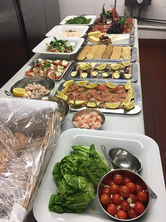 Buffet items for an off-site catering event