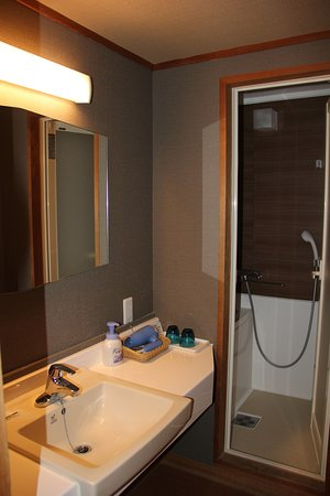 Bathroom in the room - never used as always use the outdoor onsen by the lake or in the hotel.