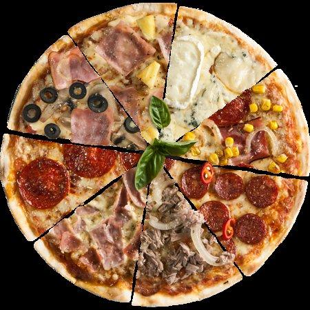 Solo pizza italiana con mozzarella de búfala y productos frescos.