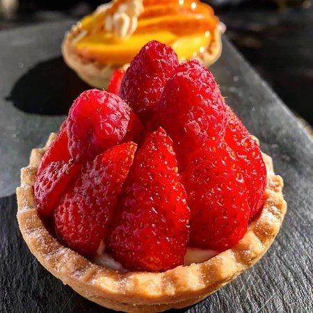 Tarta fresa y melocotón
