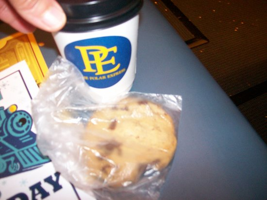 The small cup of Hot Chocolate, and the one chocolate chip cookie.