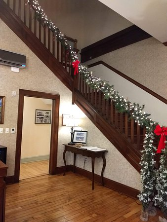 Stairway from Lobby to 2nd floor during Christmas time