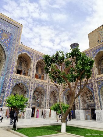 "The Registan was the heart of the ancient city of Samarkand of the Timurid dynasty, now in Uzbekistan. The name Rēgistan (ریگستان) means ""Sandy place"" or ""desert"" in Persian. The Ulugh Beg Madrasah, built by Ulugh Beg during the Timurid Empire era of Timur—Tamerlane, has an imposing iwan with a lancet-arch pishtaq or portal facing the square."