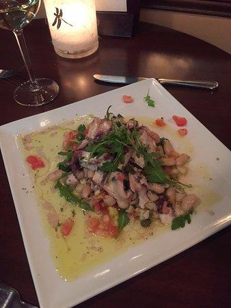 calamari and cannellini bean appetizer
