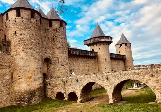 Daytime at one of th entrances to Carcassonne.