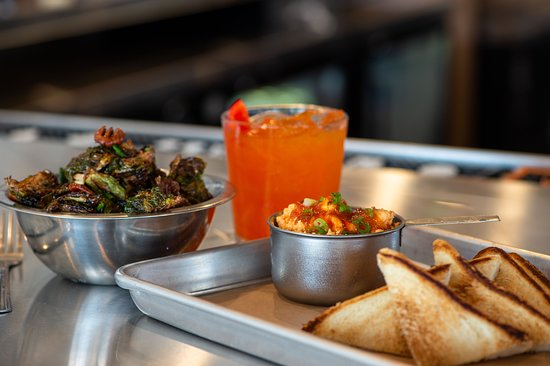 Industry: Pimiento beer cheese, crispy brussels sprouts