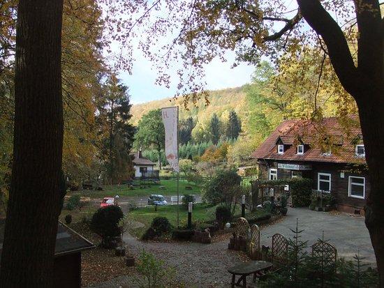 Hannoversch Munden, Germany: Zicht vanaf achterzijde, waar je goed kunt wandelen.