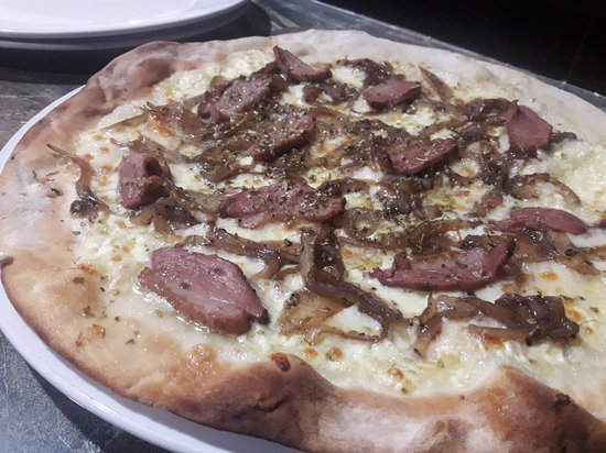 New! Duck pizza: white pizza with balsamic caramelized onions, smoked duck breast and parmesan