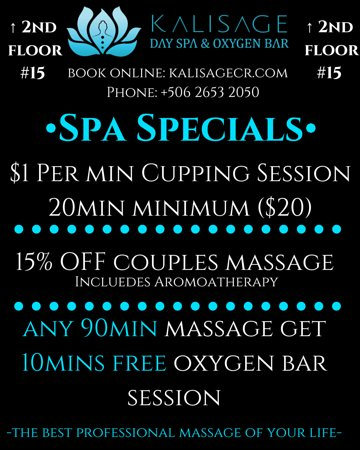 Kalisage Day Spa & Oxygen Bar: Spa Specials:  •15% OFF Couples Massage (includes aromatherapy)  •$1 per min 95% Pure Oxygen Session  •Any 90 min Massage get 10 min FREE Oxygen Session •••Licensed Professions