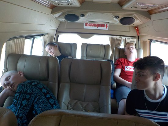Tour with Tong: The spacious van and three tired travelers!