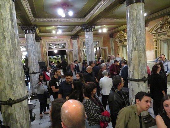 concert-goers waiting for the doors to open.