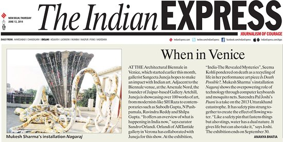 Gallery Artchill: Indian Art Show   'India -The Revealed Mysteries' in conjunction with the very prestigious Venice Architecture Biennale 2014 at Venice