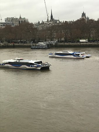 Cruising ships along the South Bank @ Mondrian's SeaContainer Restaurant.