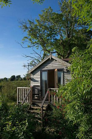 Craobh Haven, UK: Scott Cabin is a cosy wooden cabin with a balcony overlooking the pond.