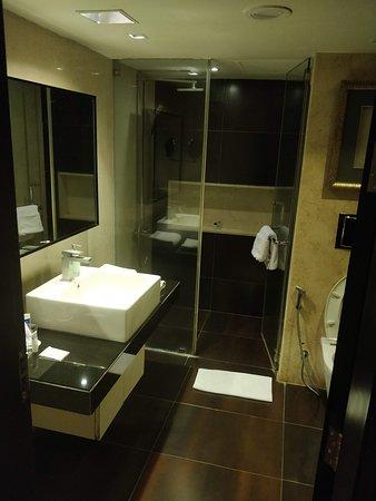 Davanam Sarovar Portico Suites: Well appointed spacious bathroom.