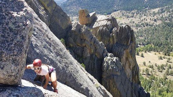Rocky Mountain National Park, CO: Rock Climbing the classic 5.7, White Whale, on Lumpy Ridge.