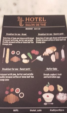 't Hotel: Breakfast menu