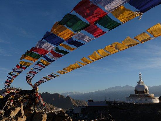Leh, India: Shanti Stupa. A very famous symbol of peace and harmony.