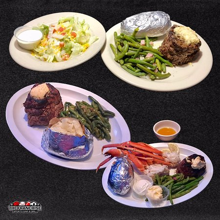 Wood River, IL: Friday Filet Specials - Hand Cut and Grilled. 8 oz $8.95, 16 oz $14.95, Surf & Turf 8 oz filet with 5 seafood choices $17.95. All come with a baked potato, green beans, and salad.