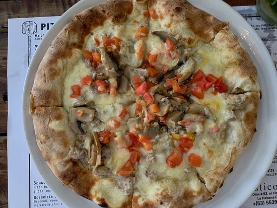 IL Rustico: Homemade sausage, smoked cheese, mushroom , fresh tomato, mozarella
