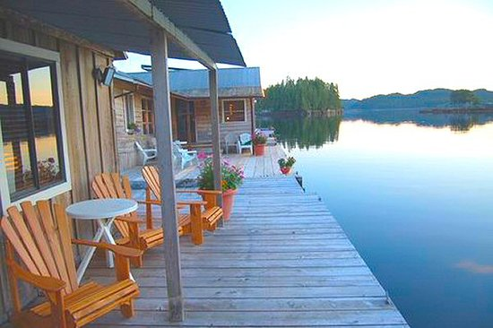 Hakai Lodge: Sit back in our Adirondack chairs and enjoy the amazing scenery of Hakai Pass from out front of your cabin.