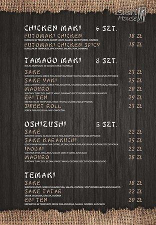 Menu chicken maki, tamago maki, oshizushi, temaki