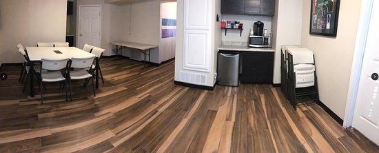 back room, good for setting up catering for your birthday party or corporate event in the escape room, Countdown2Escape in Frisco TX