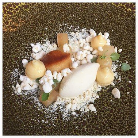 Pear with baba au rhum and nitro ice-cream