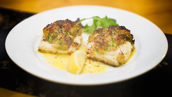 The Old Bake House:            Oven Baked Fillets of Hake Topped with Crab Meat & Satuéed Leeks