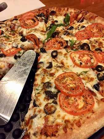 A large Veggie Pizza (without the offered onions). The crust is wonderful all by itself! Yum!