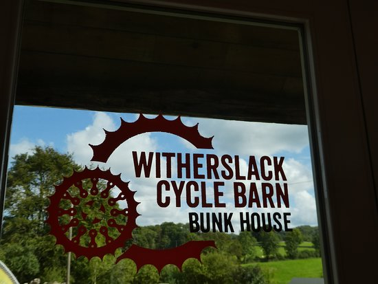 Witherslack Cycle Barn Bunk House: Front door and view to the north