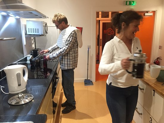 Witherslack Cycle Barn Bunk House: Communal kitchen with all the equipment you need to feed family and friends