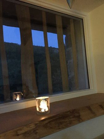 Dining room window at dusk