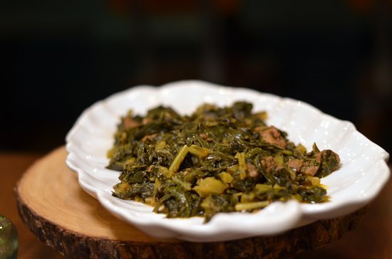 Feedel Bistro: Mom's Special Gomen Be'siga  Enjoy each bite of this meat and collard greens dish. Cubed lamb mixed with fresh collard greens & simmered in a mild sauce with seasoned butter, herbs & spices. This is our mom's special and we hope you enjoy it as much as we did growing up!