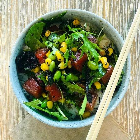 Pronto Eatery: Tuna Poke Bowl Sashimi Grade Yellow-fin Tuna, Edamame, Sweet Corn, Goma Wakame, Light Citrus Soy Marinade