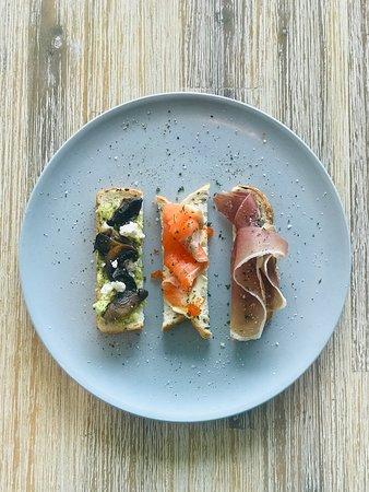 Pronto Eatery: Loaded Strips Canape Smoked Salmon Cream Cheese Tobiko Fish Roe Prosciutto Yuzu Marmalade Mushroom Feta Avocado