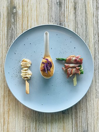 Pronto Eatery: Prawn Teaser Bacon Wrapped Asparagus Tempura Fish Bite with Enchilada and Japanese QP Mayo Canape