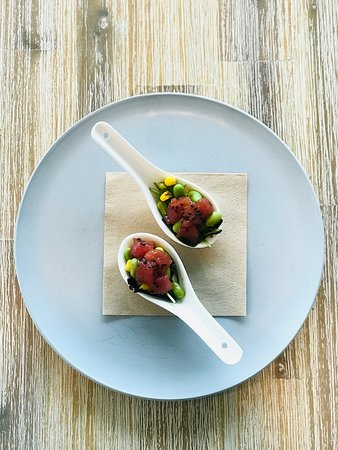 Pronto Eatery: Tuna Ceviche Sweet Corn Edamame Soy Beans Greens Housemade Sesame Soy Lime Dressing