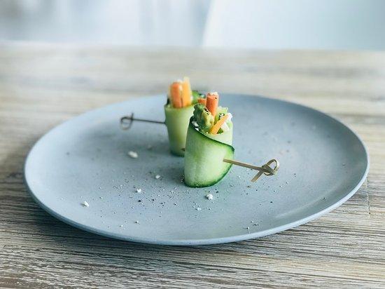 Pronto Eatery: Cucumber Feta Carrot Avocado Roll Canape