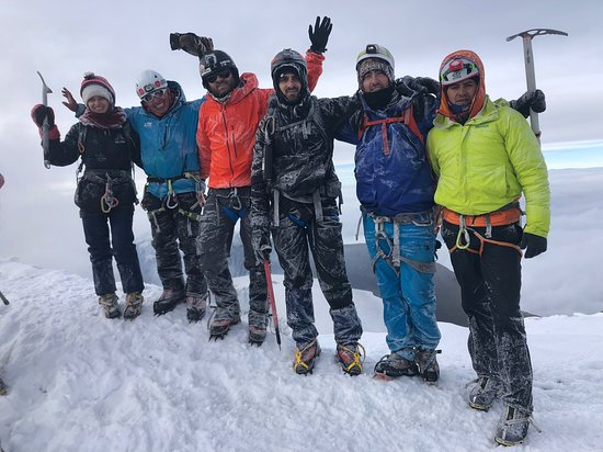 Summit of Cotopaxi with our team and guides.
