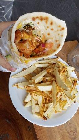 Shawarma and fresh french fries.