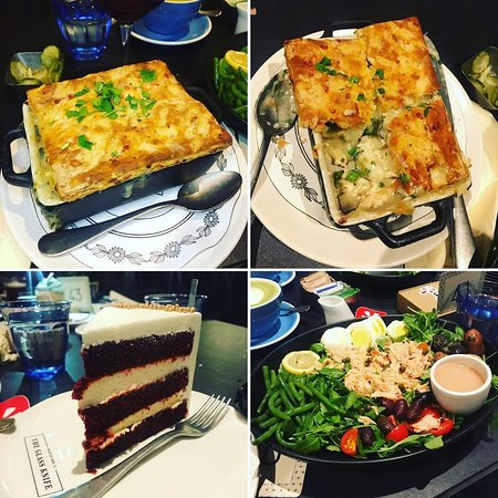 The Glass Knife: chicken pot pie, cake and salad
